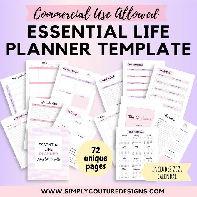 essential life planner templates plr