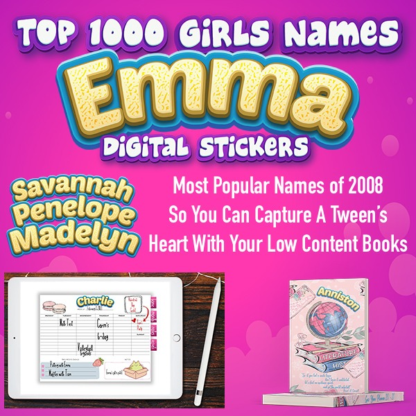 girls names digital stickers plr