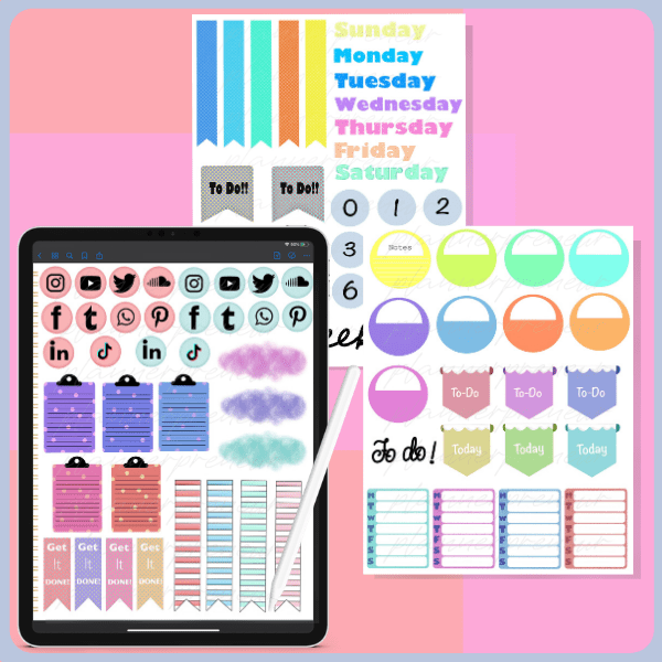 daily essential digital stickers plr