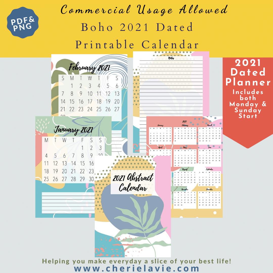 Boho 2021 Dated Calendar