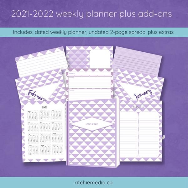 2021-2022 weekly planner mockup